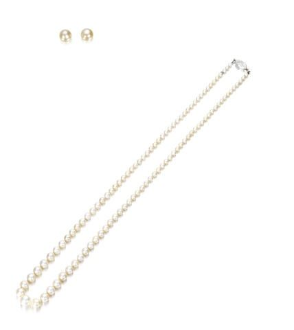 A pearl necklace with diamond clasp and a pair of pearl earstuds, purchased from Van Cleef & Arpels in the 1920s