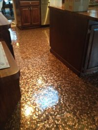 Penny floor I put in my kitchen | Craft ideas | Pinterest