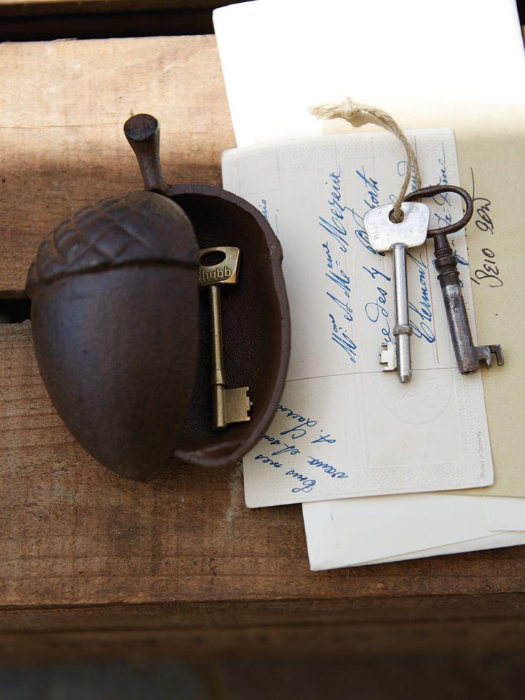 NEW Cast Iron Acorn Key Pot