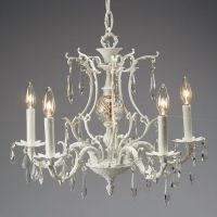 Vintage White Chandelier with Faux Crystals
