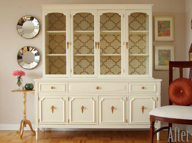 Wallpaper backed shelves