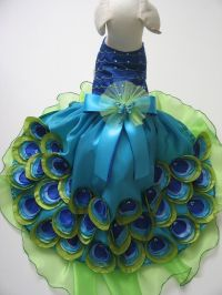 Peacock Dog Dress Custom Made or Ready Made With Hat