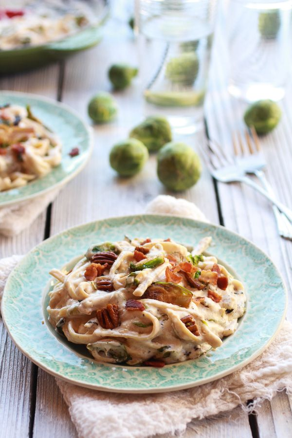 Caramelized Brussels Sprouts and Bacon Fettuccine Alfredo