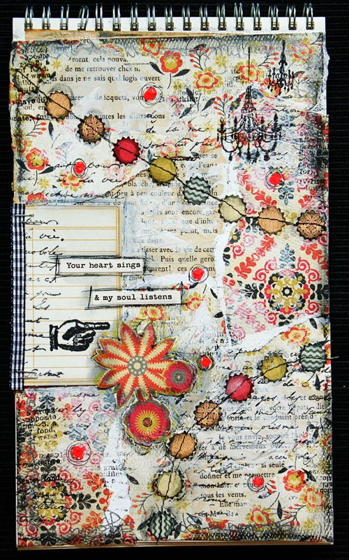torn book pages foundation | stitched circles | b with pops of color.