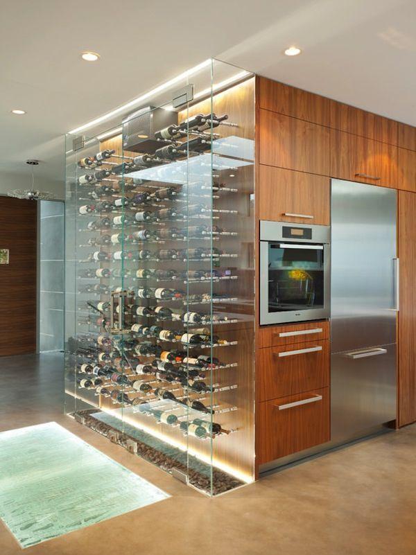 Glass Case | Bottle Display | Contemporary Kitchen | Wine Cellar | Custom Design | Home Ideas