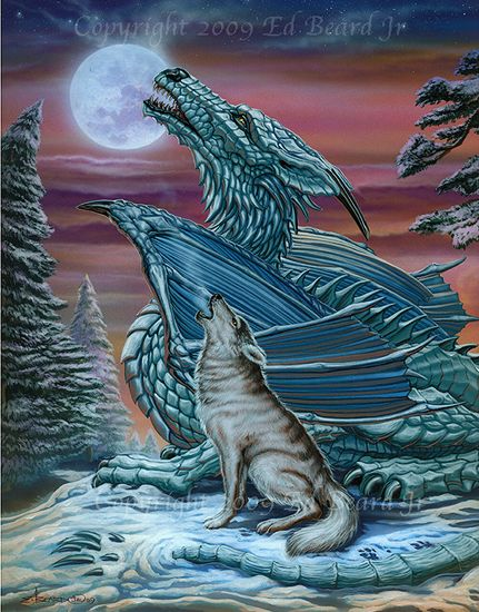 Dragon Fantacy Wolf And Together