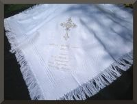 Baby Gift Christening Baptism Blanket Shawl white cream
