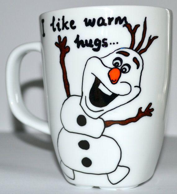 Frozen Olaf Coffee Mug  I Like Warm Hugs  Frozen by DreamAndCraft, $15.00
