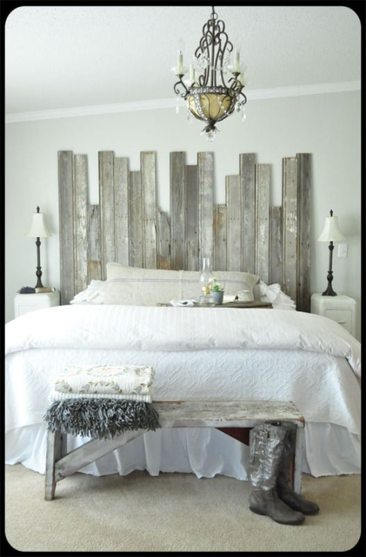 "Rustic chic bedroom... I like how the headboard and bench ""match"" and tie the whole look together"