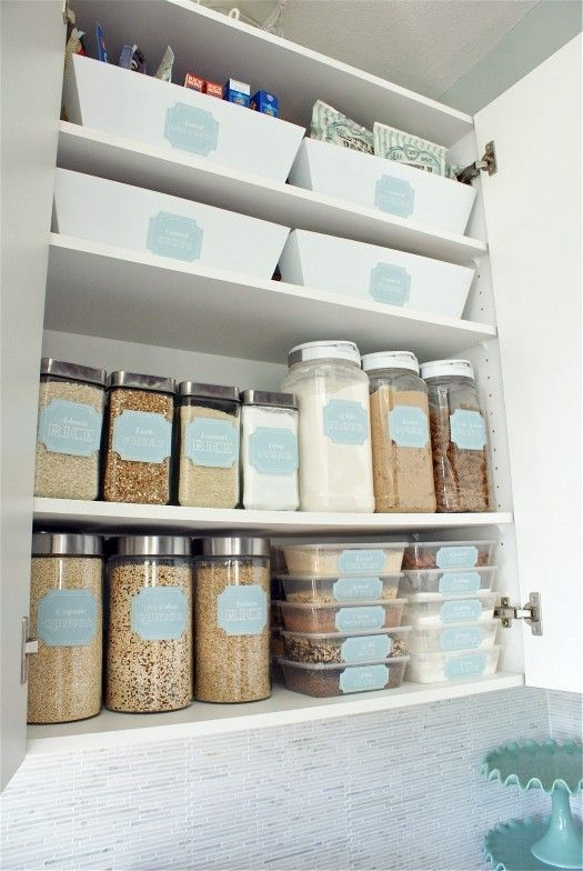 organized kitchen- fill cabinets with square glass/plastic containers, add labels, organize by item and frequency of use