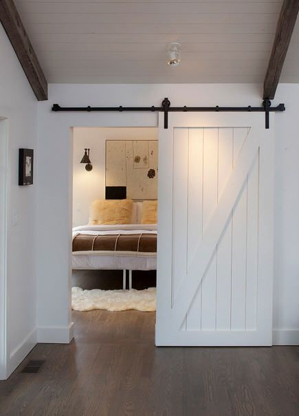 white painted sliding barn door