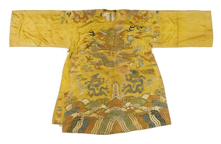 Chinese yelllow ground robe, Qing dynasty