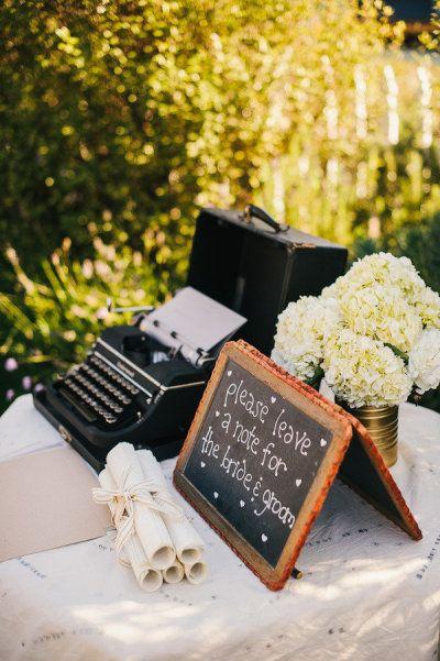 libro de firmas boda máquina de escribir