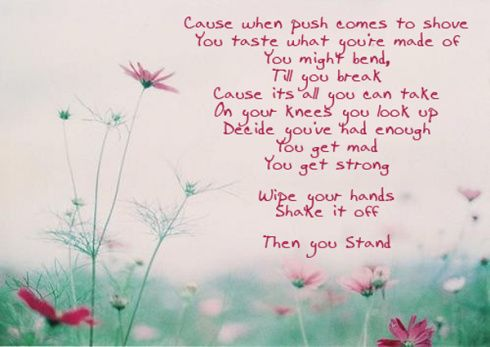 I adore this song.  Love these lyrics, need a sign of them.  Rascal Flatts - Stand