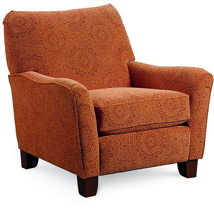 Adorable comfy reclining accent chair in orange print