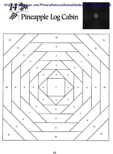 Log Cabin Quilt Page Coloring Pages