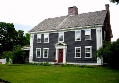 Gray House Red Front Door