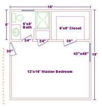 Master bedroom 12x16 floor plan with 6x8 bath and walk in ...