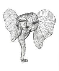 Elephant Head Wire Wall Art