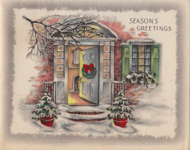Vintage Greeting Card Christmas Open Door Snow House L621