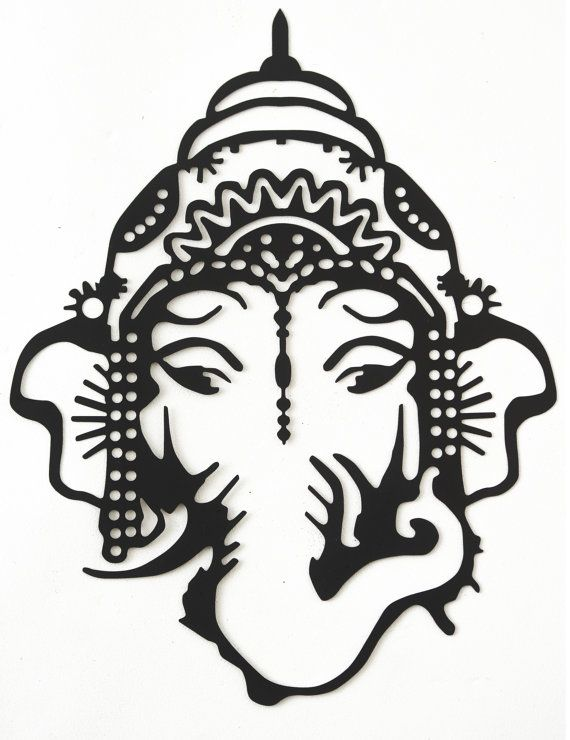 Hand drawn & laser cut, metal wall art Ganesh head