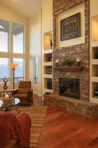 tall stone fireplace