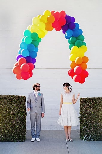 rainbow wedding photo by aubrey trinnaman