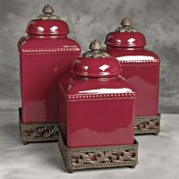 Ceramic Tuscan Red Kitchen Canisters | For the Home ...