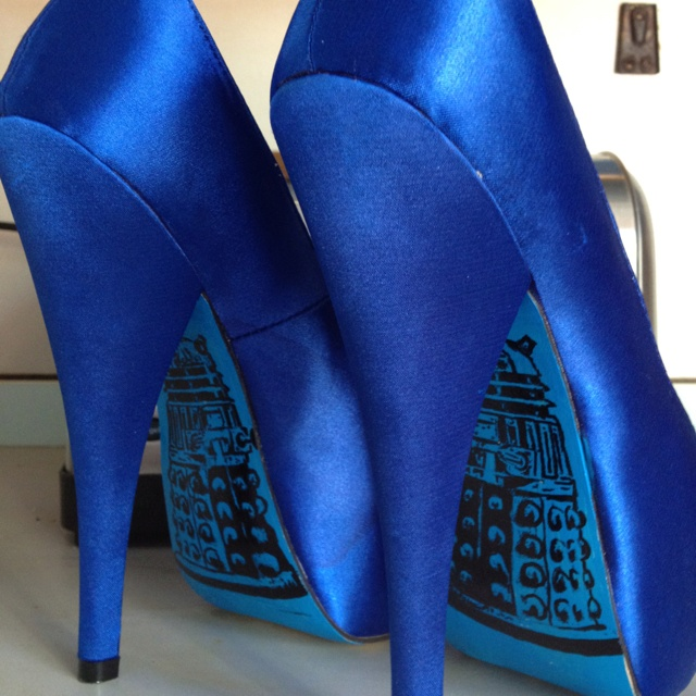 """Doctor Who Dalek Wedding Heels by Miss Fiendish. I love these as """"something blue""""! I could match them to the ribbon on my dress!"""