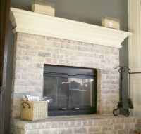 Whitewashed brick fireplace | For the Home | Pinterest