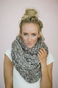 Infinity Scarf Knitted Chunky Mocha Ivory Loop Snood ...
