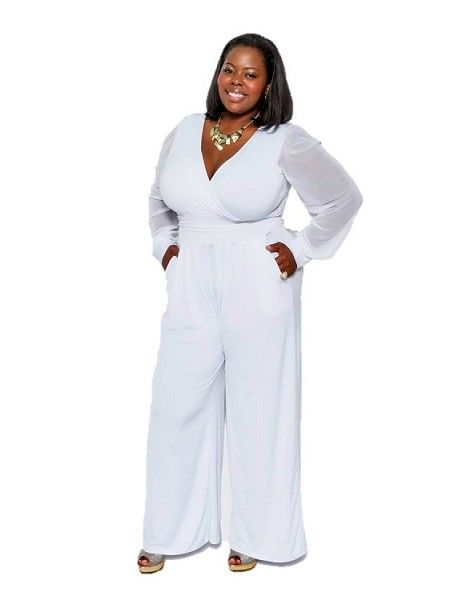Black And White Plus Size One Shoulder Evening Jumpsuit