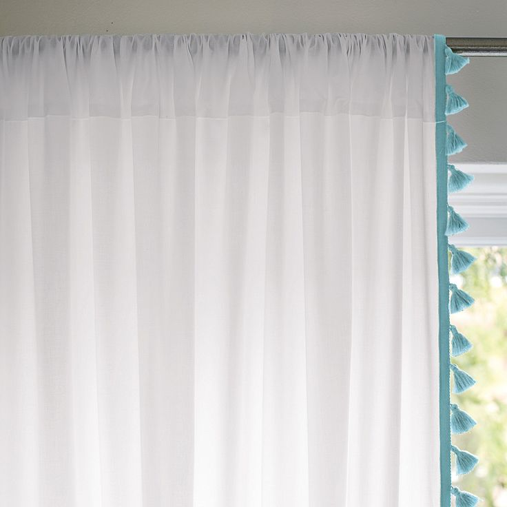 French Tassel Window Panel – Aqua | Serena & Lily