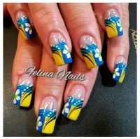 blue and yellow | April showers bring may flowers nail art ...