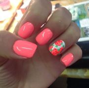 coral floral nail art design