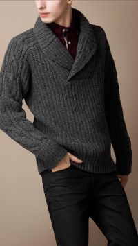 Collared Man Pullover Shawl Sweater Wool - Long Sweater Jacket