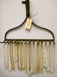 Rake as jewelry holder | Craft and DIY Ideas | Pinterest