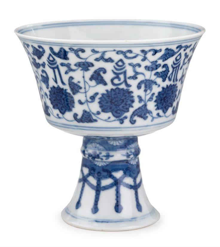 Chinese blue and white porcelain stem bowl, Daoguang mark and of the period