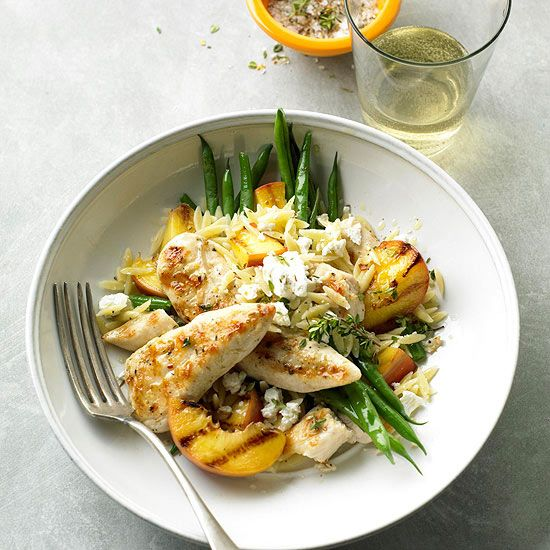 Grilled Chicken and Peaches with Green Beans and Orzo