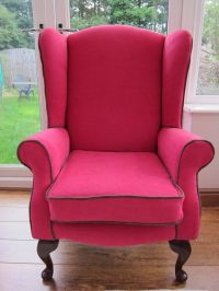 Hot pink accent wingback chair vintage by Seatingpretty on ...