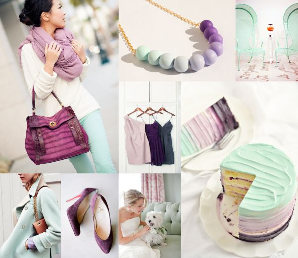 Cool Mint Purple Wedding Colors