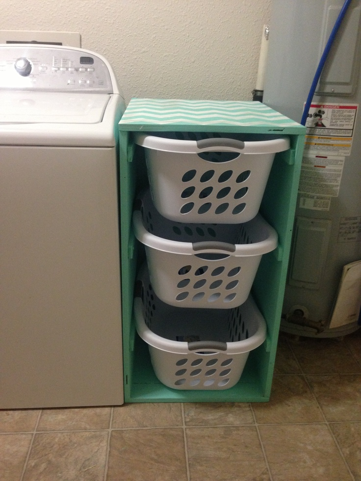 DIY laundry sorter with chevron pattern.