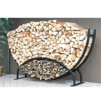 8ft Semicircle Firewood Rack w/Kindling Holder & Cover