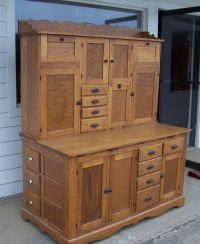 Antique Oak Hoosier Kitchen Bakers Cabinet General ...