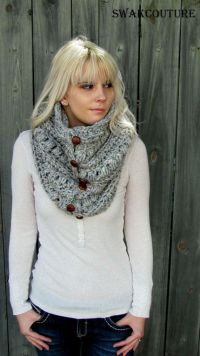Womens Scarf Chunky Cowl 6 Button Wool Cowl Scarf Knitted ...