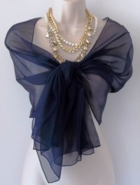 Navy Blue Chiffon Shawl/Scarf | Semi-formal dresses ...