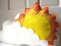 Sunburst Pillow, Sun Cloud Pillow, Cloud Pillow