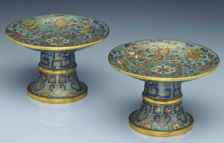 A rare pair of cloisonné enamel offering dishes, Qianlong period (1736-1795)