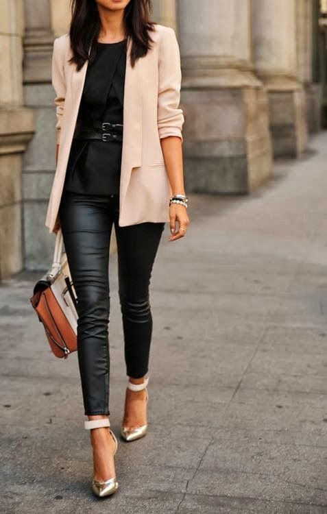 Cream coat white shirt with leather pant and hand bag
