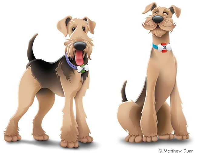 Cartoon of Airedale Terriers